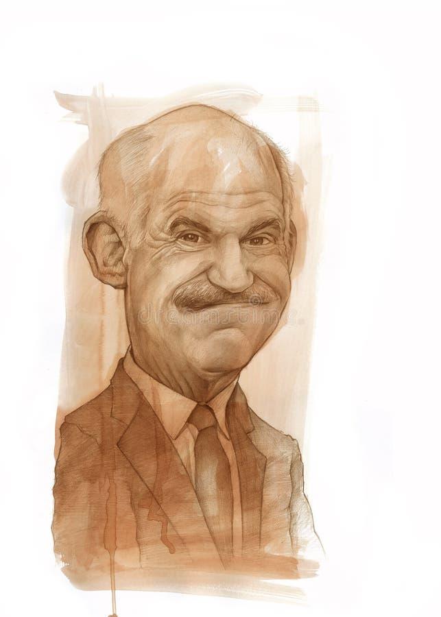 karykatury George Papandreou portret ilustracji