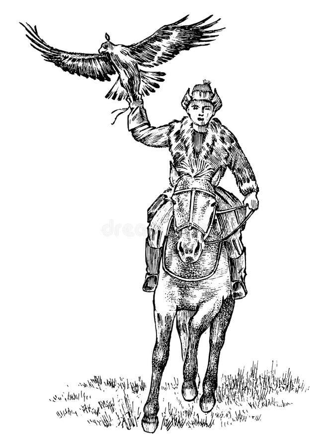 Kasachischer Mann im nationalen Kostüm, das ein Pferd mit einem Adler reitet Weinlese gravierte Handgezogene einfarbige Skizze stock abbildung