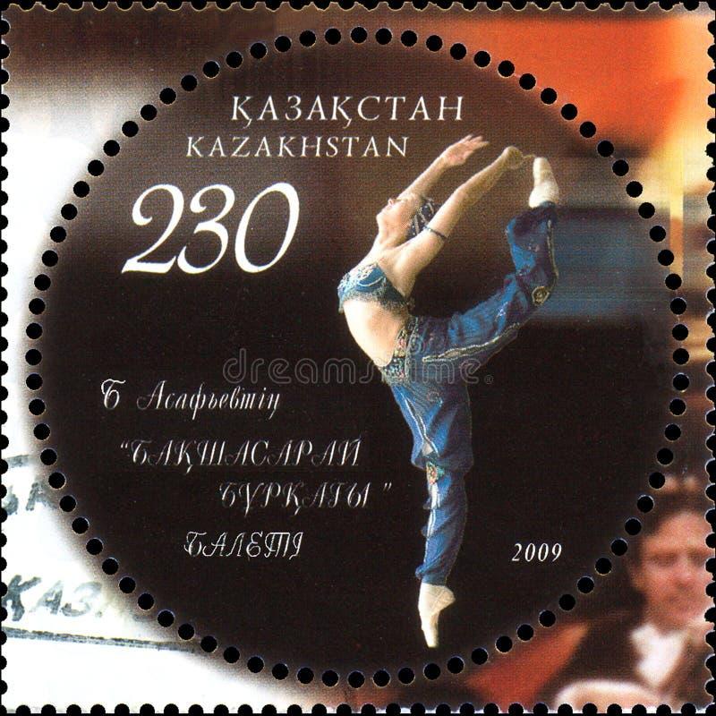 KASACHSTAN - CIRCA 2009: Der Poststempel, der in Kasachstan gedruckt wird, zeigt Ballett Asafiev B ` Der Brunnen von Bakhchisarai stockbilder