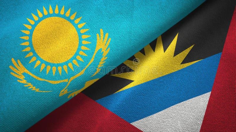 Kasachstan- und Antigua und Barbuda-zwei Flaggentextilstoff, Gewebebeschaffenheit stock abbildung