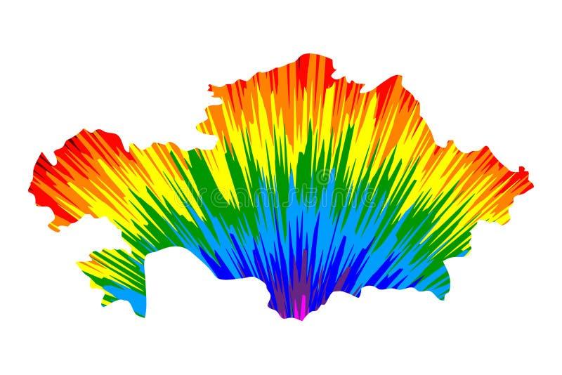 Kasakhstan - översikten är den planlagda abstrakta färgrika modellen för regnbågen vektor illustrationer