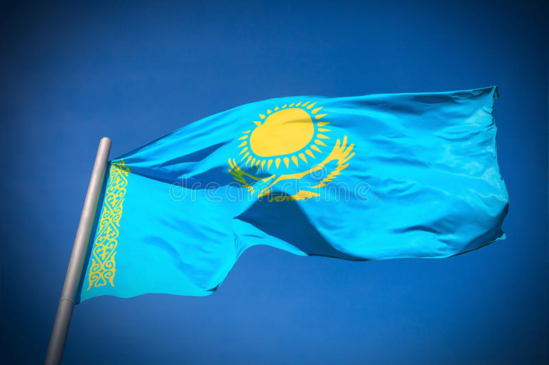 Kasakhstan flagga royaltyfria bilder
