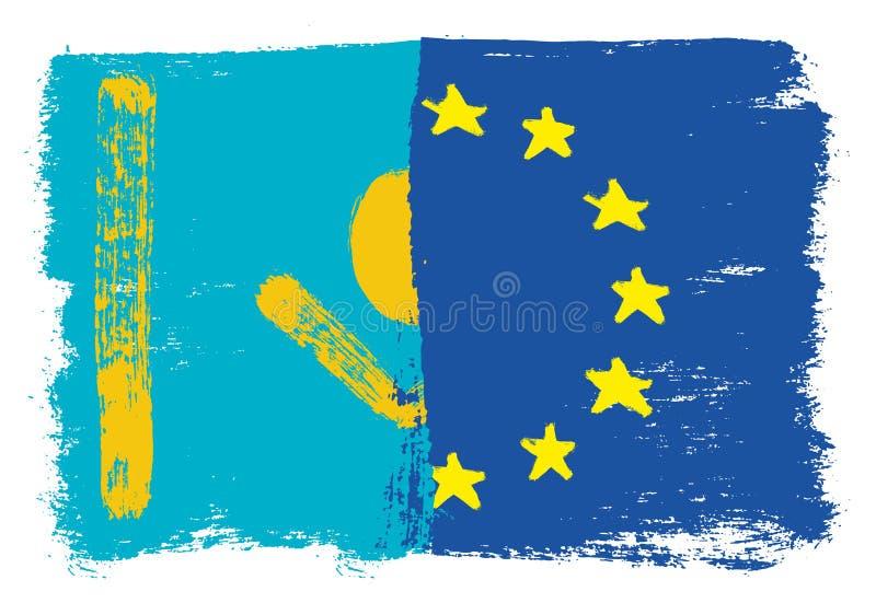 Kasakhstan flagga & europeisk vektorhand för facklig flagga som målas med den rundade borsten stock illustrationer