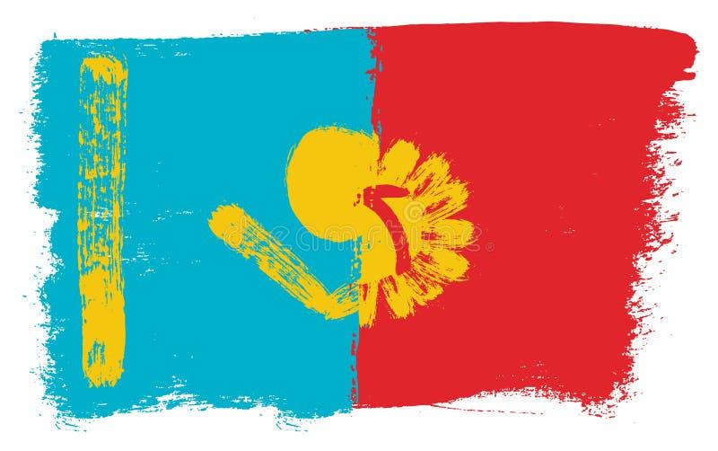 Kasakhstan flagga & hand för Kirgizistanflaggavektor som målas med den rundade borsten royaltyfri illustrationer