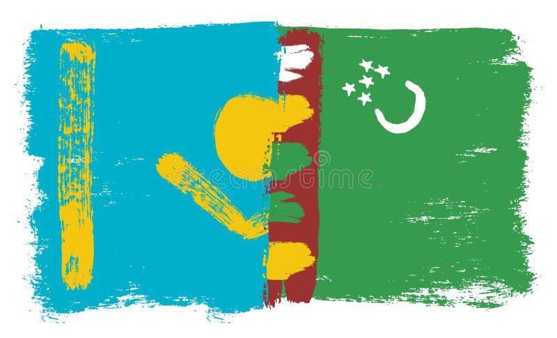 Kasakhstan flagga & hand för Turkmenistan flaggavektor som målas med den rundade borsten stock illustrationer