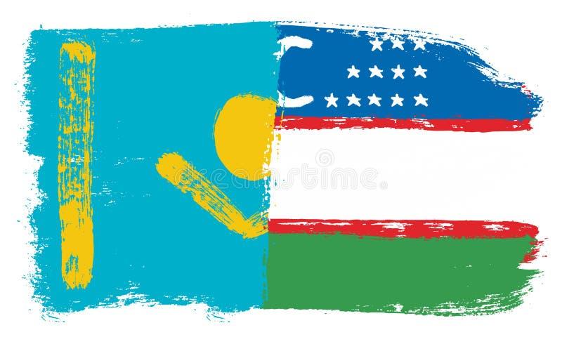 Kasakhstan flagga & hand för Uzbekistan flaggavektor som målas med den rundade borsten stock illustrationer