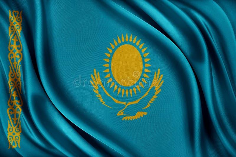 Kasakhstan flagga Flagga med en glansig siden- textur stock illustrationer