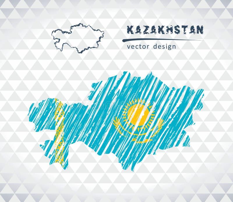 Kasakhstan vektoröversikt med flaggainsidan som isoleras på en vit bakgrund Skissa drog illustrationen för krita handen royaltyfri illustrationer