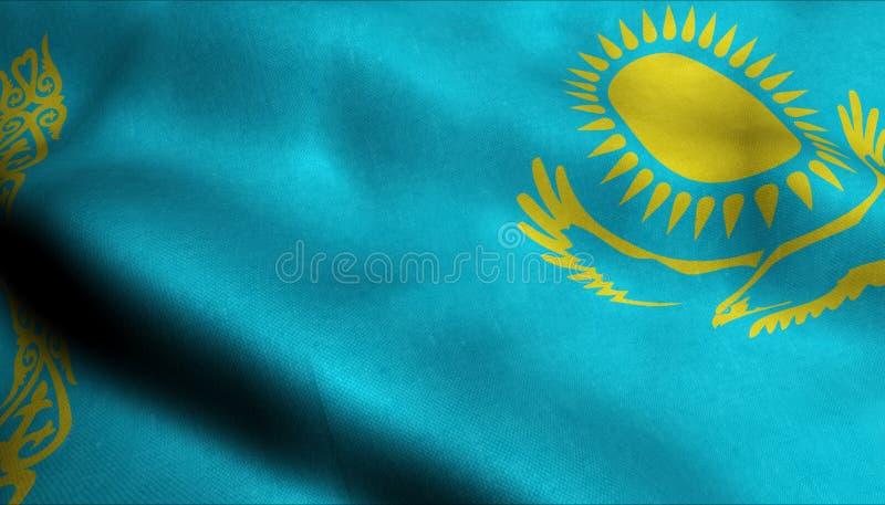 Kasakhstan vinkande flagga i 3D royaltyfri illustrationer