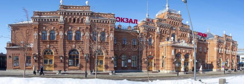 Kasan, Russland, am 1. März 2015: Bahnhof alter Ziegelstein Kasans lizenzfreie stockfotografie