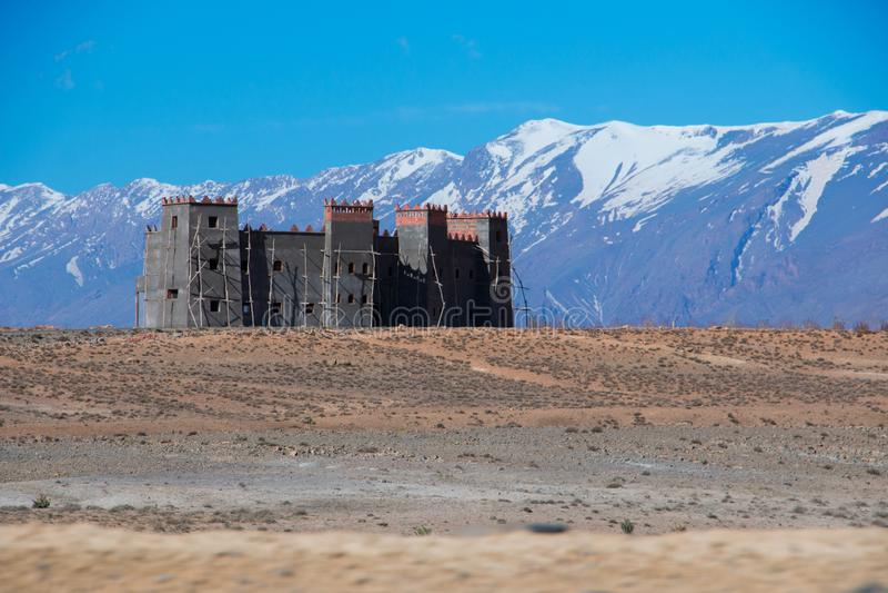 kasbah,位于摩洛哥的高阿特拉斯山脉 库存照片