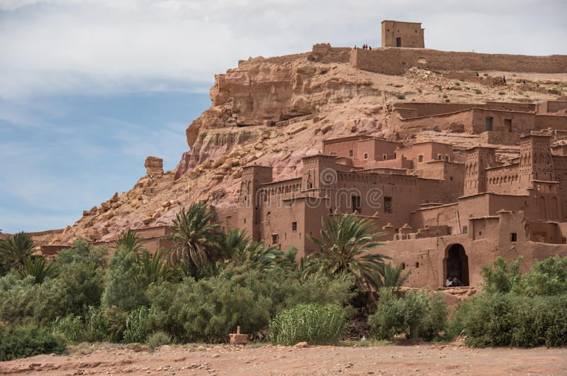 Kasbah Ait Ben Haddou in the Atlas Mountains of Morocco. Medieval fortification city, UNESCO World Heritage Site. stock photo