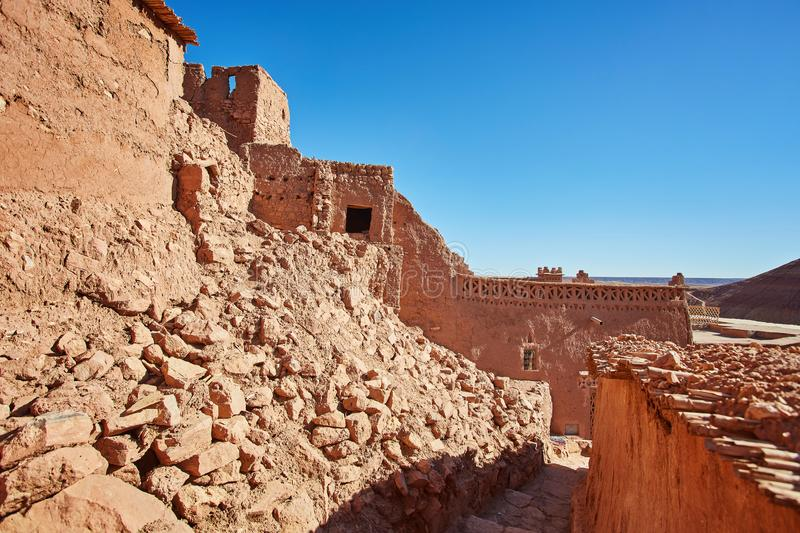 Kasbah Ait Ben Haddou in the Atlas Mountains of Morocco. UNESCO. World Heritage Site since 1987. Several films have been shot there royalty free stock photo