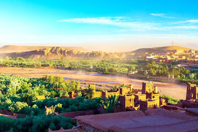 Kasbah Ait Ben Haddou in the Atlas Mountains of Morocco. UNESCO World Heritage Site since 1987. Several films have been shot there stock photography