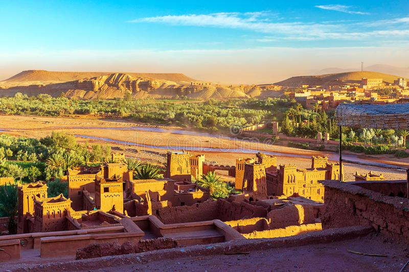 Kasbah Ait Ben Haddou in the Atlas Mountains of Morocco. UNESCO World Heritage Site since 1987. Several films have been shot there stock photo