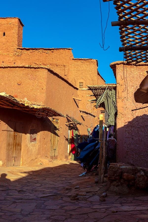 Kasbah Ait Ben Haddou in the Atlas Mountains of Morocco. UNESCO World Heritage Site since 1987. Several films have been shot there royalty free stock photos