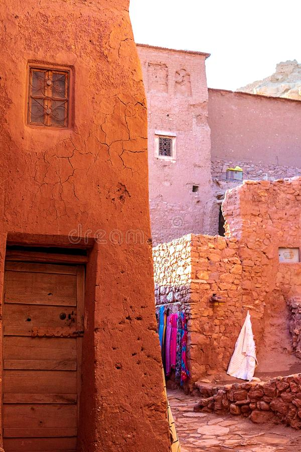 Kasbah Ait Ben Haddou in the Atlas Mountains of Morocco. UNESCO World Heritage Site since 1987. Several films have been shot there royalty free stock image