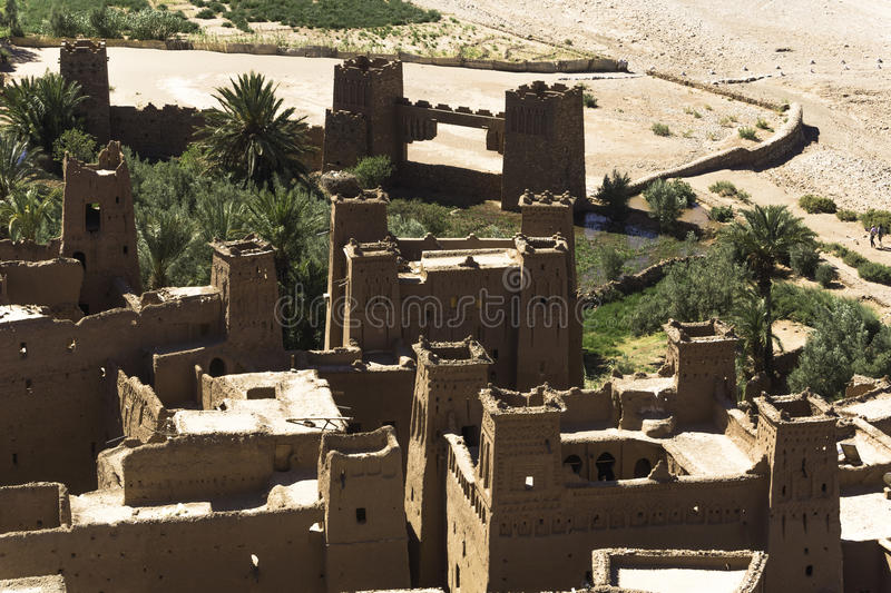 Kasbah ait ben haddou. The Kasbah Ait ben haddou in Morocco on a hot day stock photo