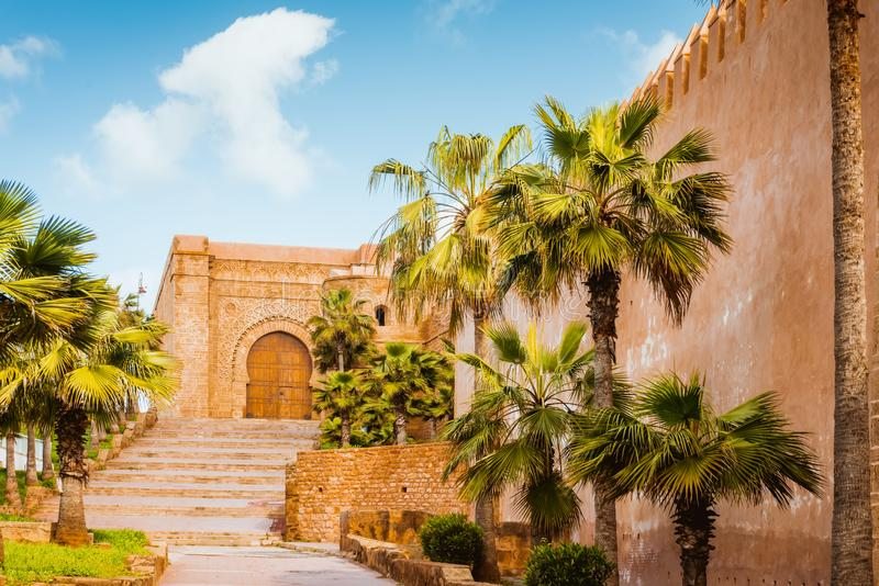 Kasbah da fortaleza de Udayas em Rabat Marrocos fotografia de stock