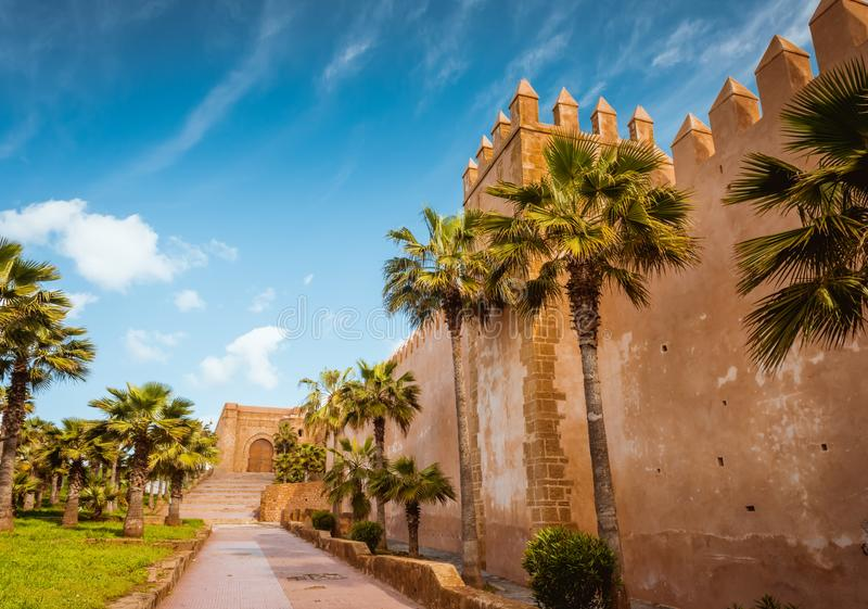 Kasbah da fortaleza de Udayas em Rabat Marrocos imagem de stock