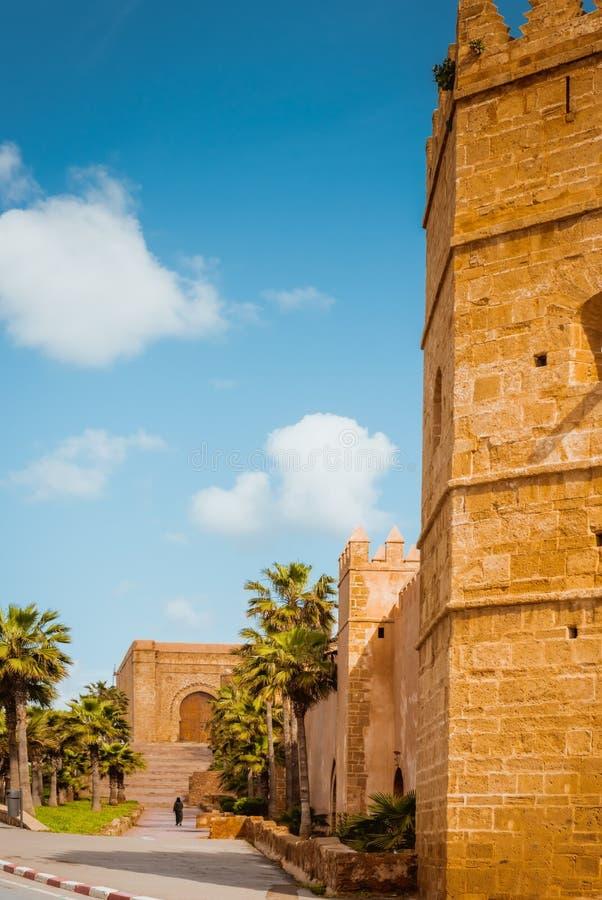 Kasbah da fortaleza de Udayas em Rabat Marrocos imagens de stock