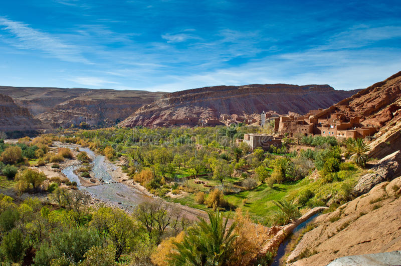 Kasbah and mosque in atlas mountains,morocco 2 royalty free stock photo