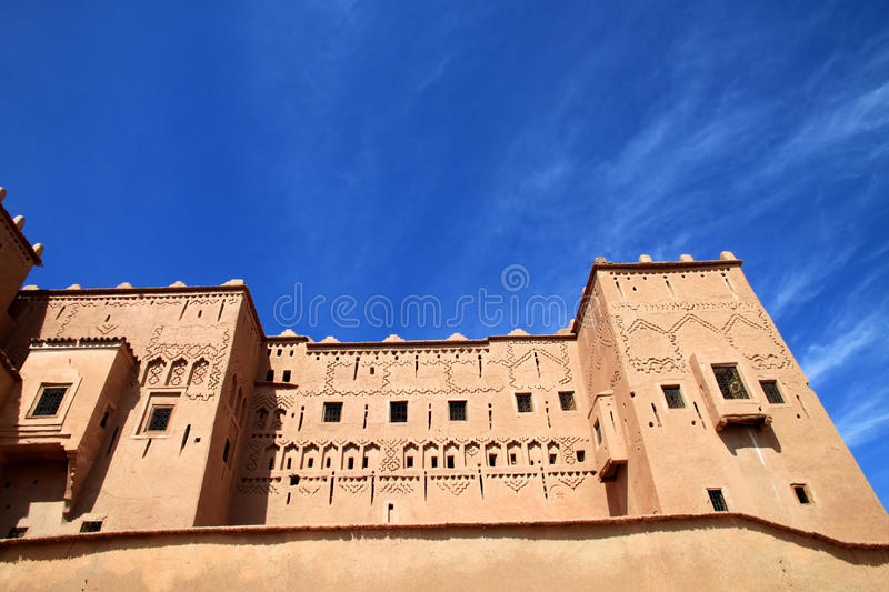 Kasbah in ouarzazate. Magnificent kasbah – old traditional arab fortress In the city of Ouarzazate royalty free stock image