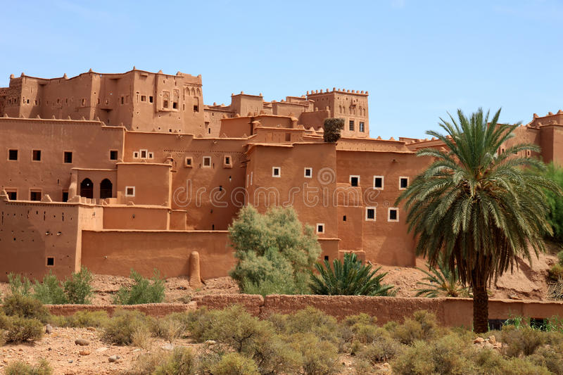 Kasbah in ouarzazate. Magnificent kasbah – old traditional arab fortress In the city of Ouarzazate stock images