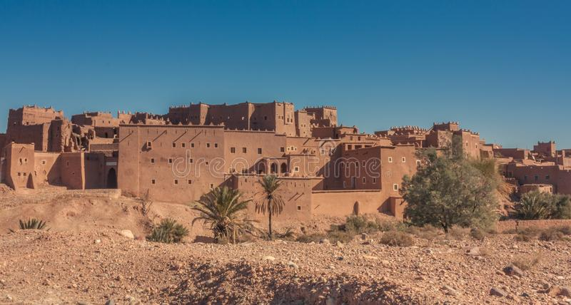 Kasbah in Ouarzazate. Ouarzazate, Morocco, Africa - January 15, 2014: Overview of the largest Kasbah in the city of Ouarzazate, in the middle of the Sahara stock photos