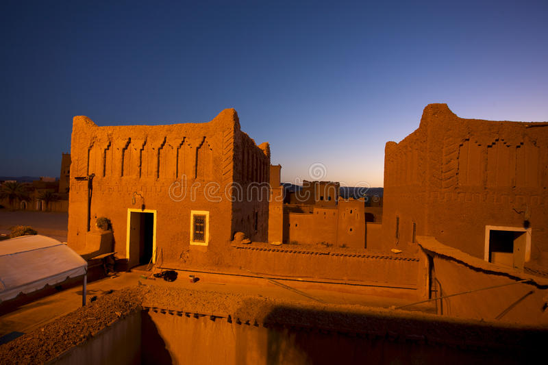 Kasbah in ouarzazate. Old Fort - the kasbah in ouarzazate at night stock photo