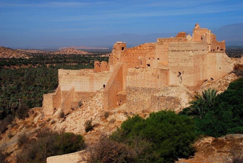 Kasbah in rovine. Tiout, Souss-Massa-Drâa, Marocco fotografia stock libera da diritti