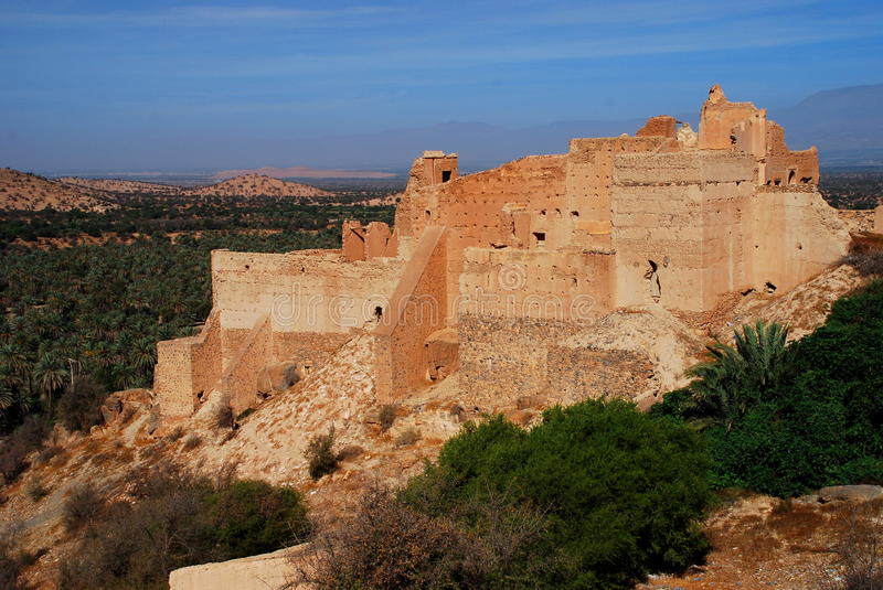 Kasbah in ruins. Tiout, Souss-Massa-Drâa, Morocco. Tiout is a small town and rural commune in Taroudant Province of the Souss-Massa-Drâa region of Morocco royalty free stock photography