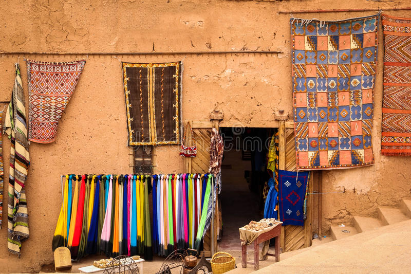 Kasbah Taourirt. Bazaar. Ouarzazate. Morocco. Picturesque bazaar in Taourirt kasbah.Ouarzazate. Morocco stock images