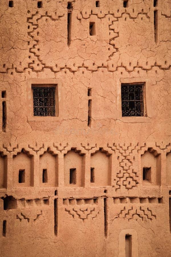 Kasbah Taourirt Fachada del detalle Ouarzazate marruecos fotografía de archivo libre de regalías