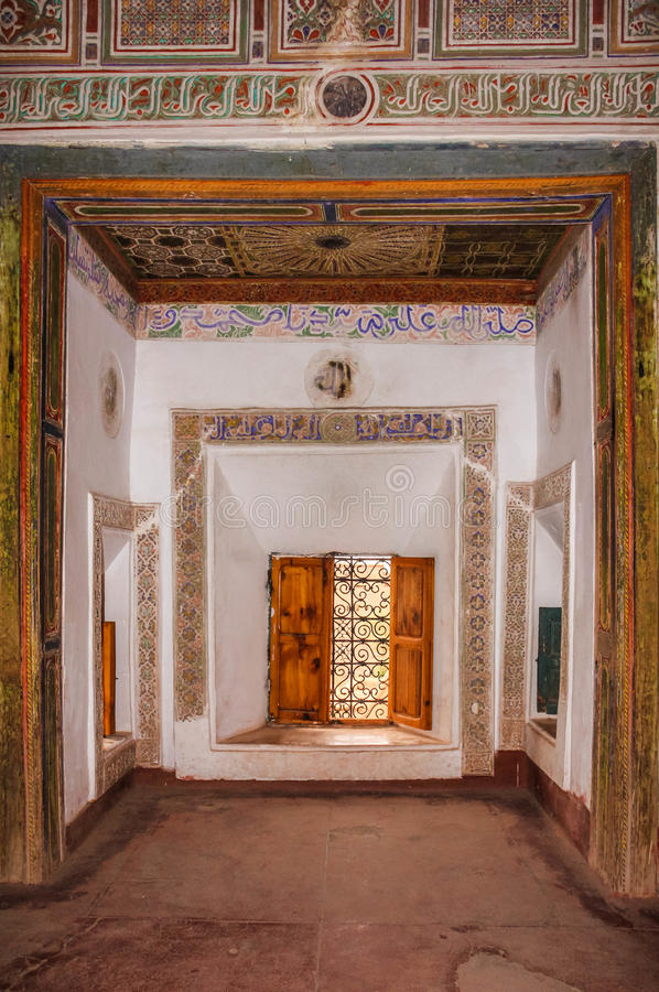 Kasbah Taourirt.Interior. Ouarzazate. Morocco. Interior, decorated walls and windows, Kasbah Taourirt. Ouarzazate. Morocco royalty free stock images