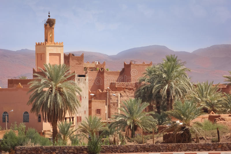 Kasbah Taourirt . Ouarzazate. Morocco. Minaret Mosque. Medieval buildings in Taourirt kasbah.Ouarzazate. Morocco stock images
