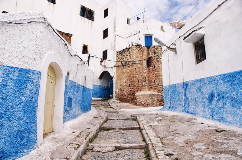 Kasbah of Udayas in Rabat. Famous blue and white streets of Kasbah of the Udayas in Rabat. The capital of Morocco has UNESCO World Heritage Status and very stock image