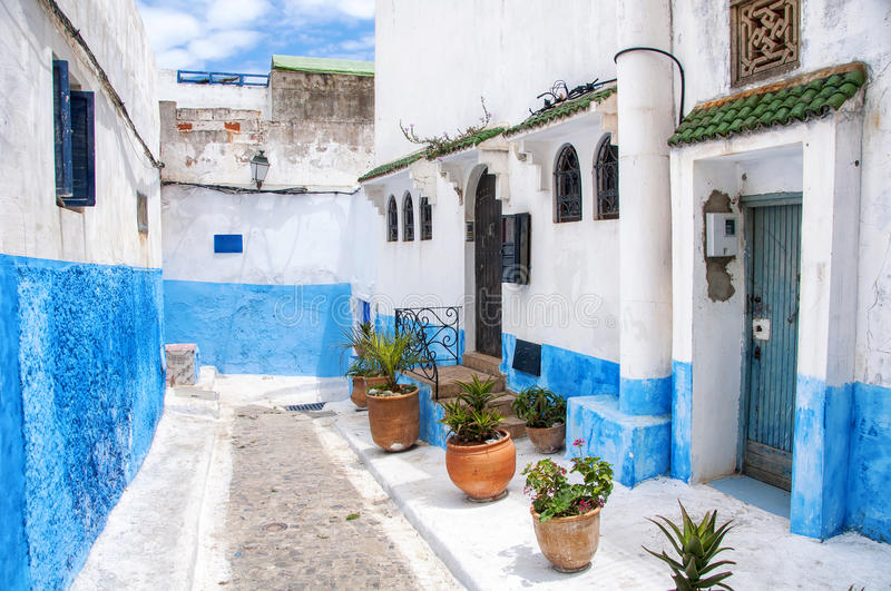Kasbah of Udayas in Rabat. Famous blue and white streets of Kasbah of the Udayas in Rabat. The capital of Morocco has UNESCO World Heritage Status and very royalty free stock image