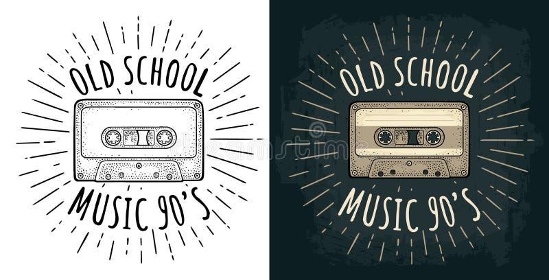 kaseta audio ?wiat?a Rocznika rytownictwa wektorowa czarna ilustracja ilustracja wektor