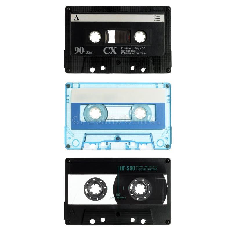 kasety odizolowywali starego biel trzy fotografia stock