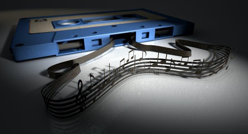 Kasety taśmy I Muzykalnych notatek pojęcie ilustracja wektor