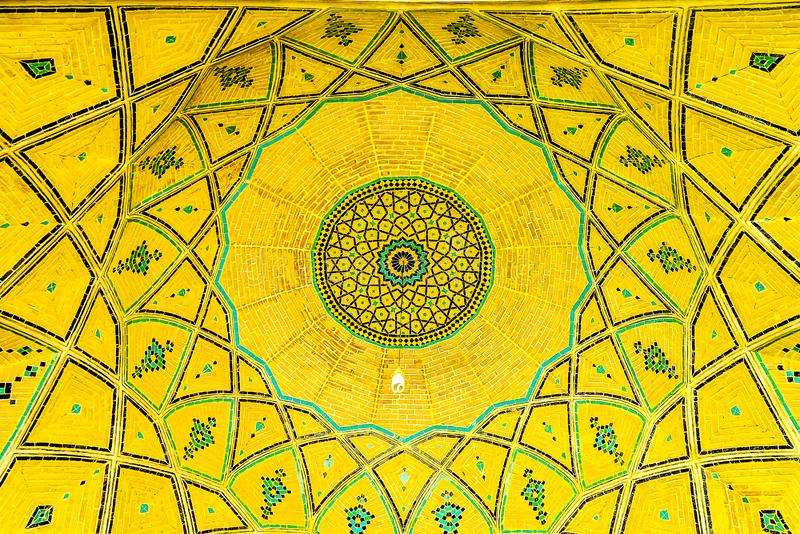 Kashan Agha Bozorg Mosque 03. Kashan Agha Bozorg Mosque Picturesque Breathtaking Yellow Colored Tiles Ceiling stock photos