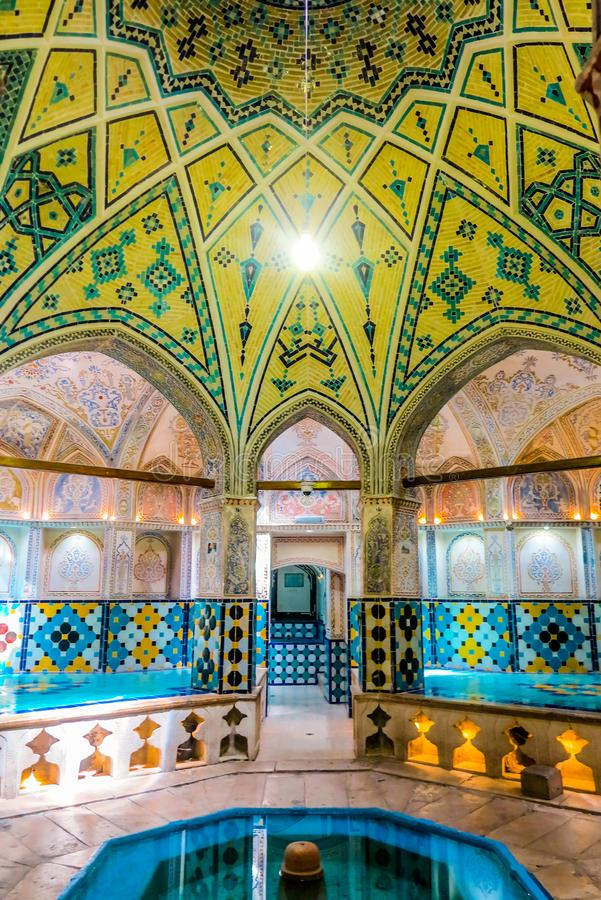 Kashan Historical Bathhouse 02. Kashan Sultan Amir Ahmad Historical Bathhouse Interior with Yellow Tiles Ceiling royalty free stock photos