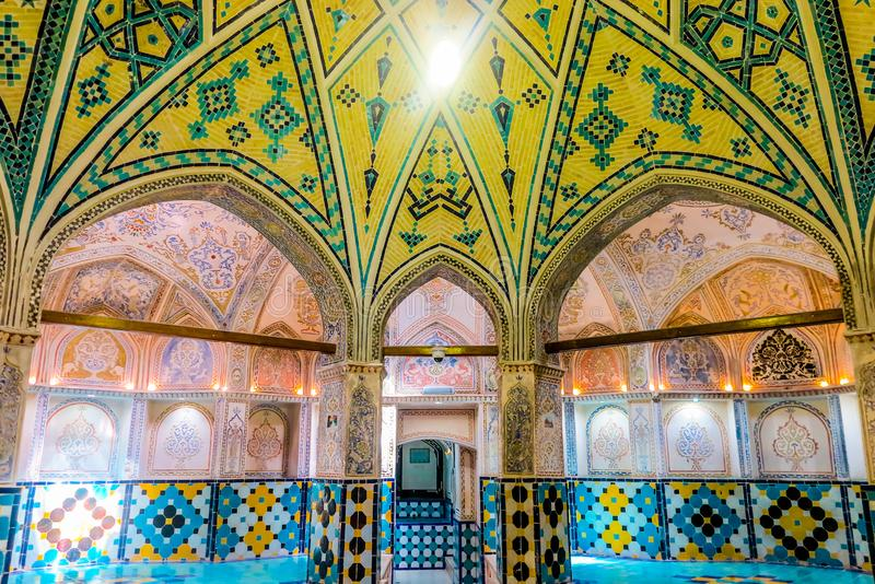 Kashan Historical Bathhouse 03. Kashan Sultan Amir Ahmad Historical Bathhouse Interior with Yellow Tiles Ceiling stock photography