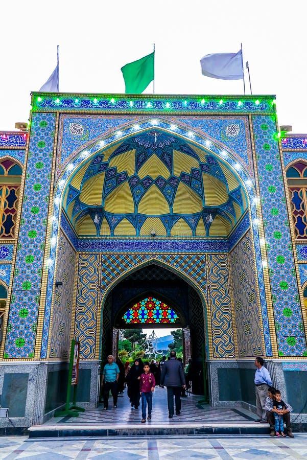 Kashan Imamzadeh Shrine 02. Kashan Imamzadeh Hilal Ibn Ali Shrine Entrance Gate View with Yellow Blue Tiles Ceiling royalty free stock photos