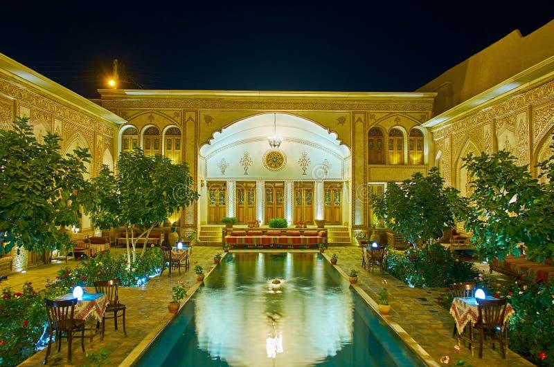 Enjoy the evening in Mahinestan Raheb Historical House, Kashan, Iran royalty free stock photo