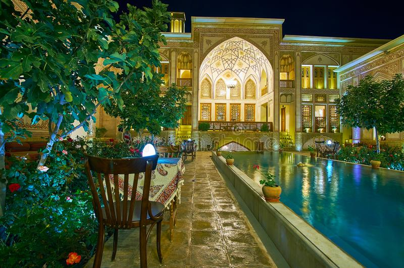The courtyard of Mahinestan Raheb Historical House, Kashan, Iran royalty free stock photos