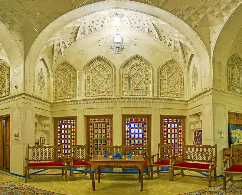 Interior of Mahinestan Raheb Historical House, Kashan, Iran royalty free stock photos