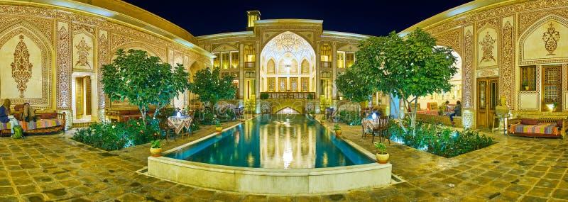 Panorama of Mahinestan Raheb Historical House, Kashan, Iran stock photo