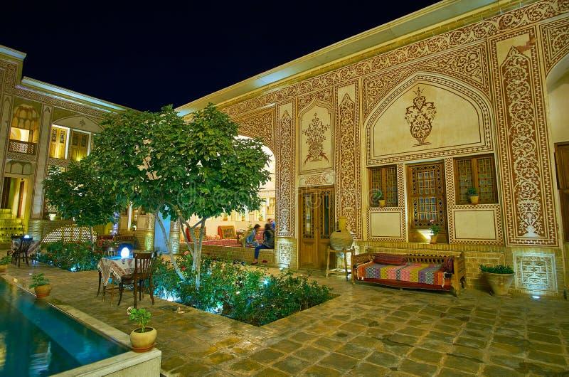 The restaurant in Mahinestan Raheb Historical House, Kashan, Iran royalty free stock photo